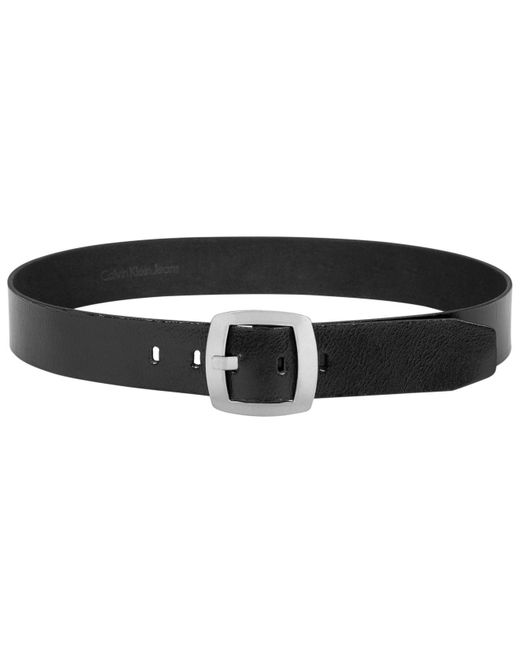 Calvin Klein Black Leather Pant Belt With Centerbar Buckle Belt