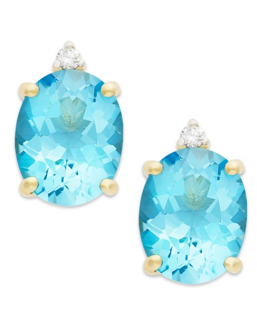 Macy's - Blue Topaz (6-1/2 Ct. T.w.) And Diamond Accent Stud Earrings In 14k Gold - Lyst