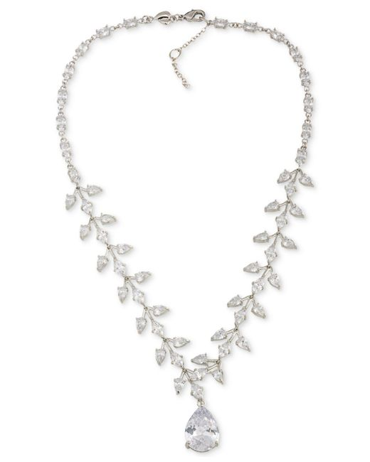 Carolee | Metallic Silver-tone Crystal Teardrop Statement Necklace | Lyst