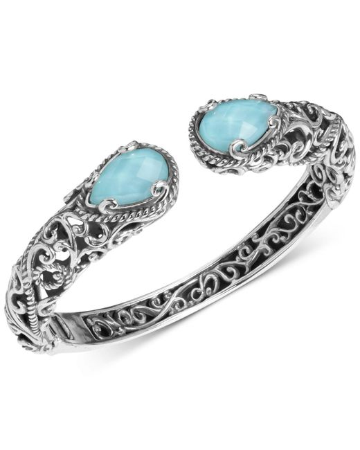 Carolyn Pollack - Metallic Turquoise/rock Crystal Doublet Cuff Bracelet In Sterling Silver - Lyst