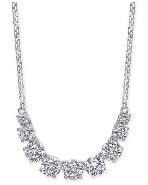 "Danori - Metallic Silver-tone Crystal Statement Necklace, 14"" + 4"" Extender, Created For Macy's - Lyst"