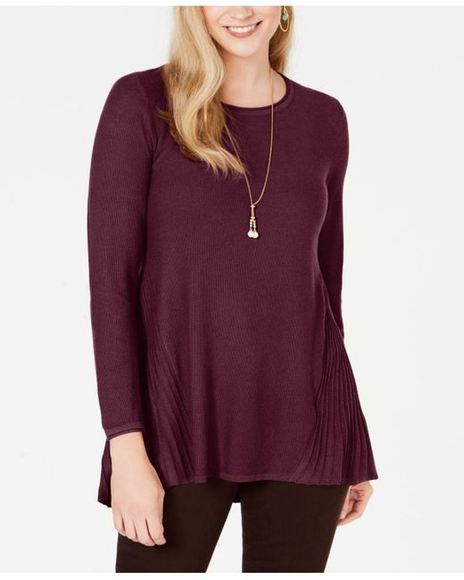 Style & Co. Purple Petite Pleated High-low Sweater, Created For Macy's