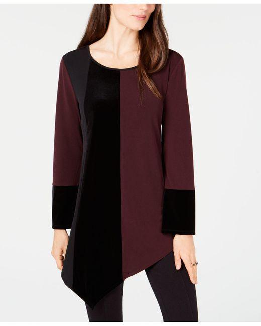 Alfani - Red Velvet Colorblocked Top, Created For Macy's - Lyst