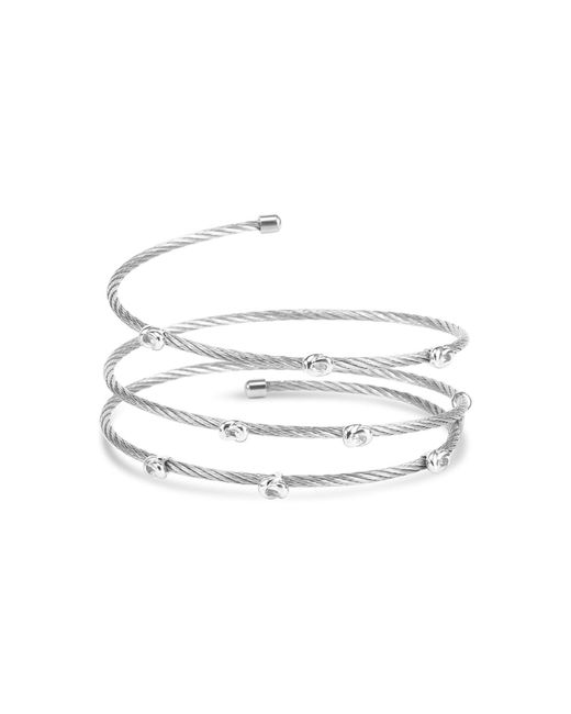 Charriol Metallic White Topaz Accent Coil Wrap Bangle Bracelet In Stainless Steel And Sterling Silver