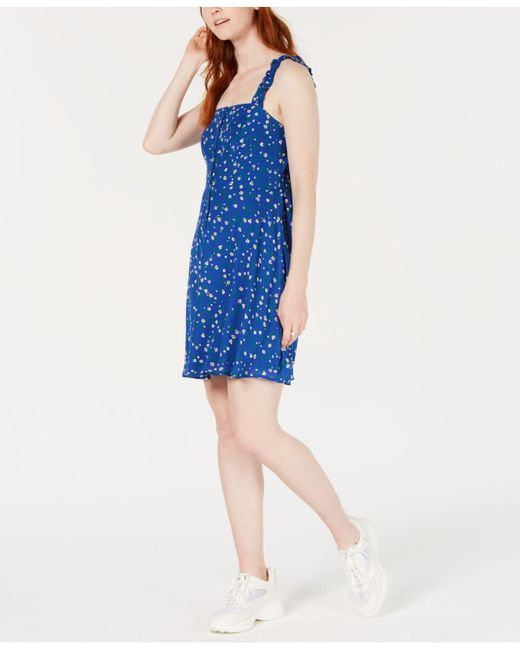19 Cooper Blue Smocked Floral-print A-line Dress