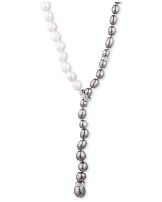 """Carolee - Gray Silver-tone Crystal & Ombré Freshwater Pearl (9-10) Adjustable 16"""" Lariat Necklace - Lyst"""