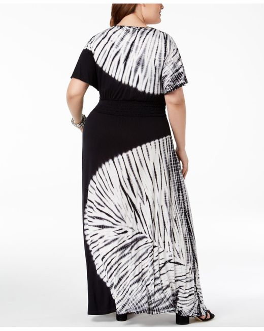 Women\'s Black I.n.c. Plus Size Tie-dyed Maxi Dress, Created For Macy\'s