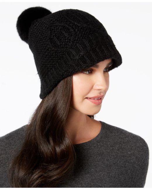 Surell - Black Rabbit-fur Pom Pom Knit Hat - Lyst