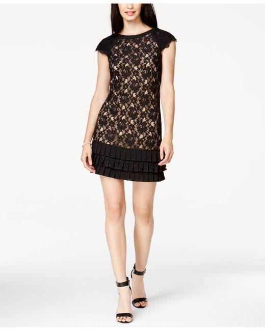 Jessica Simpson   Black Dress, Cap-sleeve Lace Pleated Tiered   Lyst