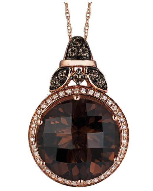 Le Vian - Smokey Quartz (8-1/2 Ct. T.w.) And White (1/10 Ct. T.w.) And Chocolate (1/6 Ct. T.w.) Diamond Pendant Necklace In 14k Rose Gold - Lyst