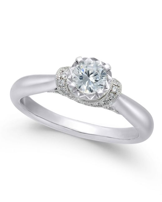 Macy's | Metallic Diamond Solitaire Engagement Ring (1/2 Ct. T.w.) In 14k White Gold | Lyst