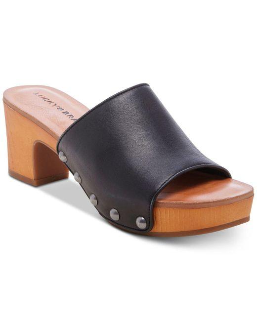 Lucky Brand Black Fineena High-heel Wedge Sandals