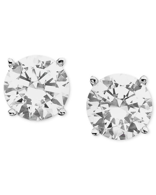 Macy's | Certified Colorless Diamond Stud Earrings In 18k White Gold (1 Ct. T.w.) | Lyst