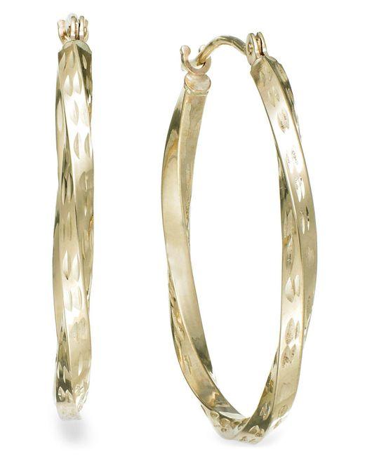 Macy's Metallic Textured Twisted Hoop Earrings In 10k Gold