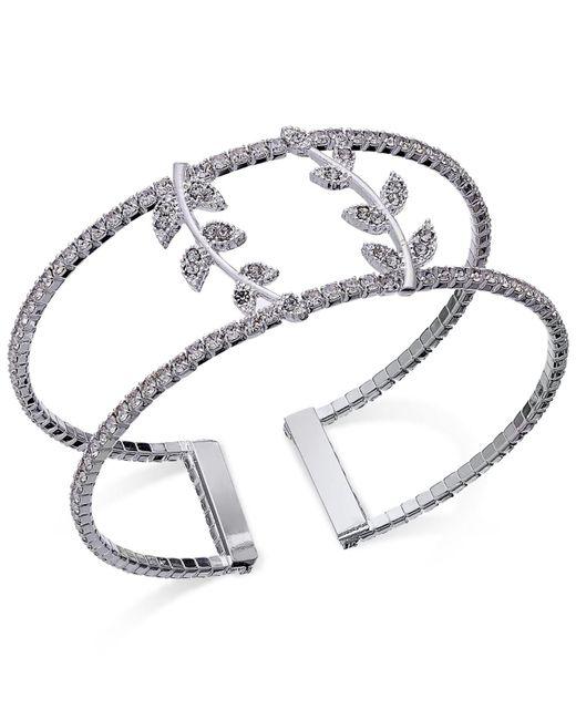 INC International Concepts   Metallic Silver-tone Pavé Double Leaf Open Cuff Bracelet   Lyst
