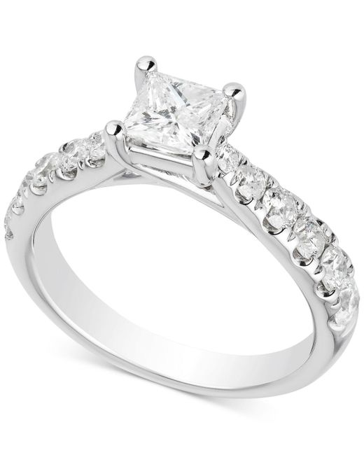 Macy's - Metallic Diamond Princess Engagement Ring (1-1/2 Ct. T.w.) In 14k White Gold - Lyst