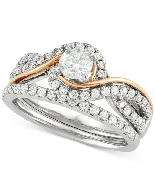 Macy's - Multicolor Diamond Two-tone Overlap Bridal Set (7/8 Ct. T.w.) In 14k White And Rose Gold - Lyst