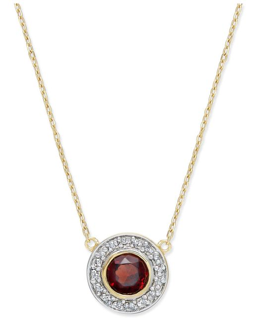 Macy's | Metallic Garnet (5/8 Ct. T.w.) And Diamond Accent Pendant Necklace In 14k Gold | Lyst