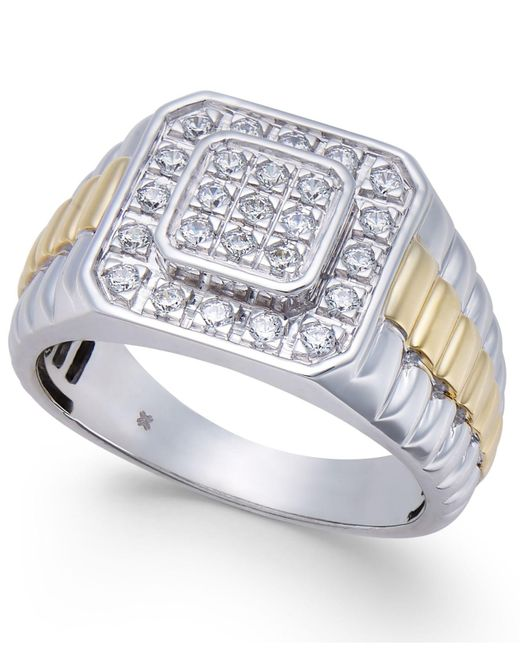 Macy's - Metallic Men's Diamond Two-tone Cluster Ring (1/2 Ct. T.w.) In 10k White Gold & Yellow Rhodium-plate - Lyst