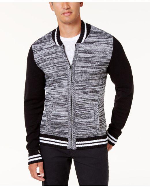 American Rag | Black Men's Full-zip Varsity Sweater Jacket for Men | Lyst