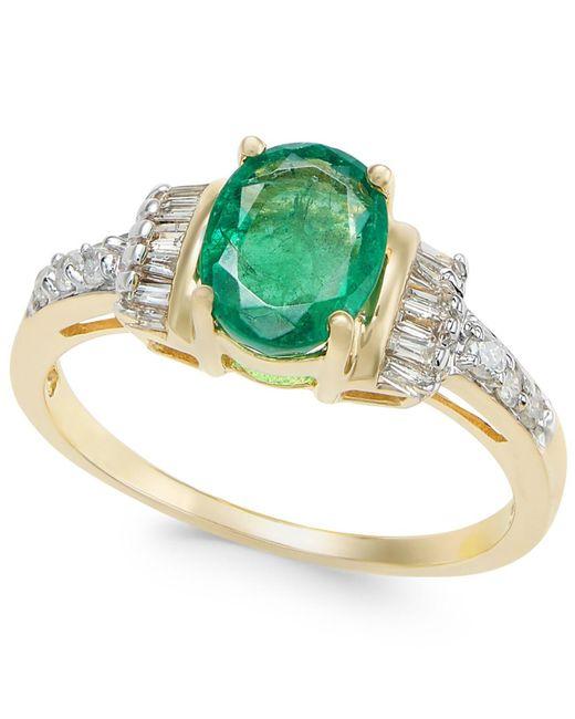 Macy's - Metallic Emerald (1-1/3 Ct. T.w.) And Diamond (1/4 Ct. T.w.) Ring In 14k Gold - Lyst