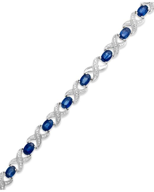 Macy's | Blue Sapphire (8 Ct. T.w.) And Diamond Accent Xo Bracelet In Sterling Silver | Lyst