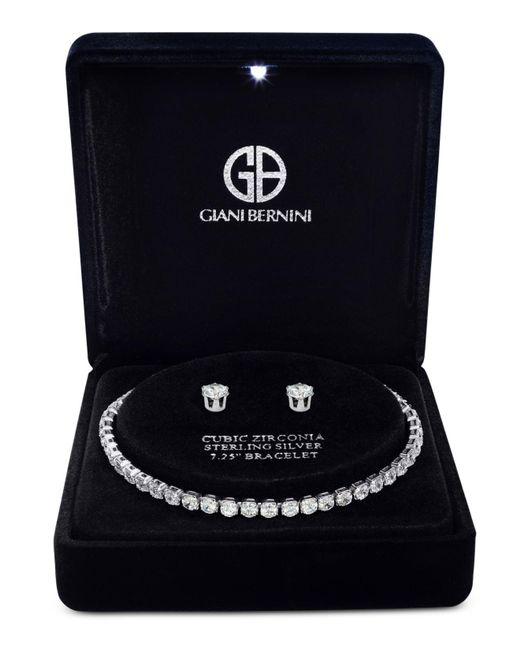 Giani Bernini | Metallic Cubic Zirconia Tennis Bracelet And Stud Earrings Set In Sterling Silver | Lyst