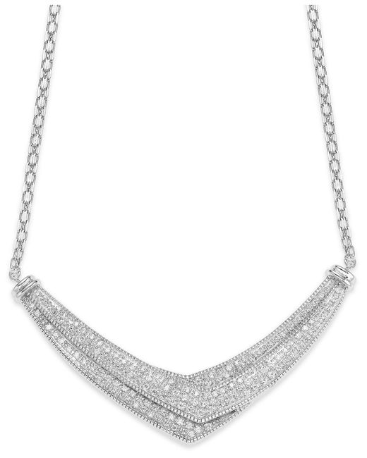 Wrapped in Love - Metallic Diamond Pave-set Crossover Necklace In Sterling Silver (1 Ct. T.w.) - Lyst