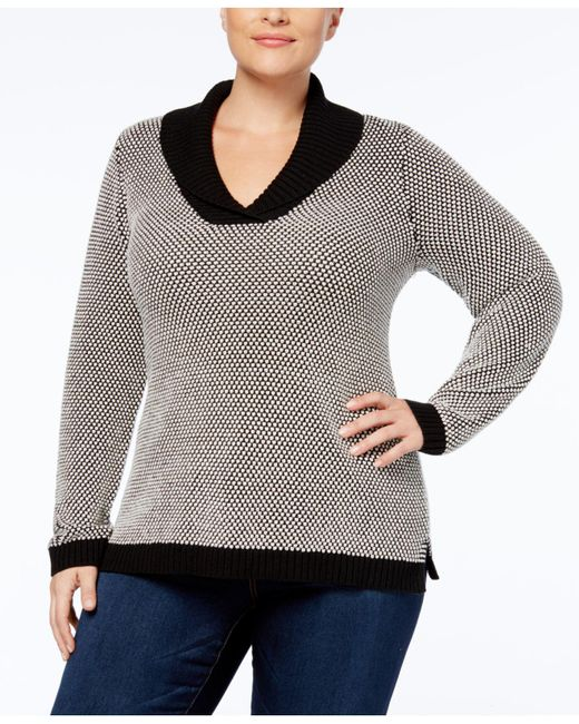 Charter Club | Gray Plus Size Shawl-collar Sweater Tunic | Lyst