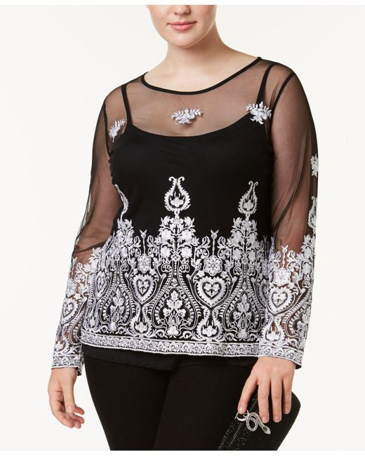 INC International Concepts | Black Plus Size Embroidered Mesh Top | Lyst
