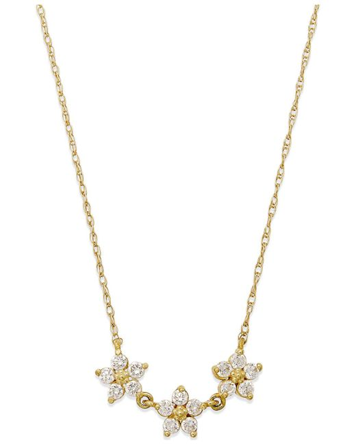Macy's - Yellow Cubic Zirconia Linked Flower Pendant Necklace In 10k Gold - Lyst