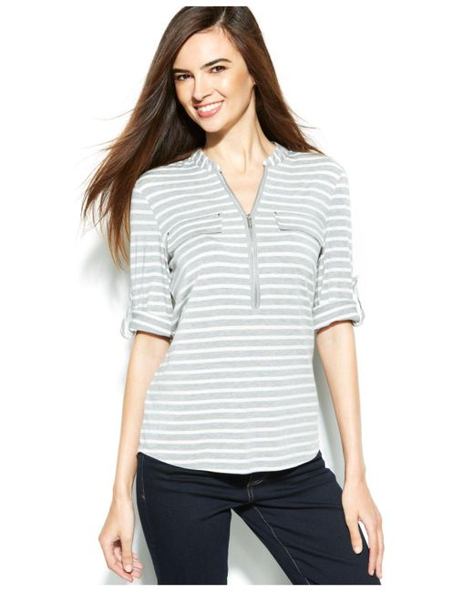 Calvin Klein - Gray Roll-tab Striped Zip-front Top - Lyst