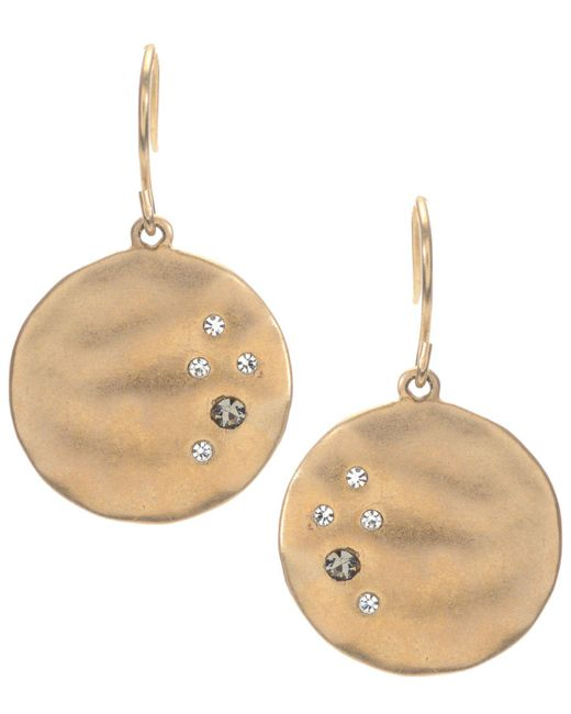 Kenneth Cole - Metallic Earrings, Gold-tone Crystal Circle Drop - Lyst