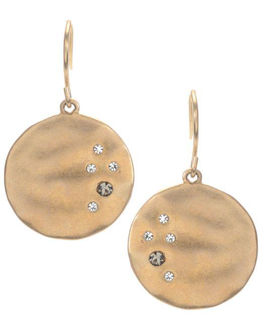 Kenneth Cole | Metallic Earrings, Gold-tone Crystal Circle Drop | Lyst