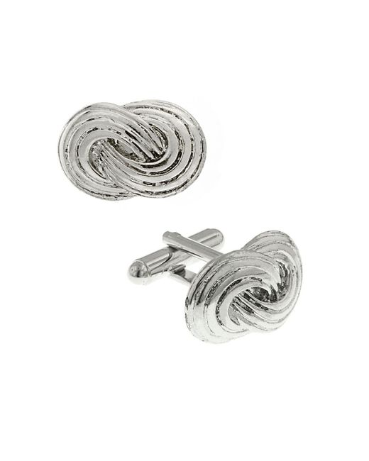 1928 Metallic Jewelry Silver-tone Infinity Knot Cufflinks for men