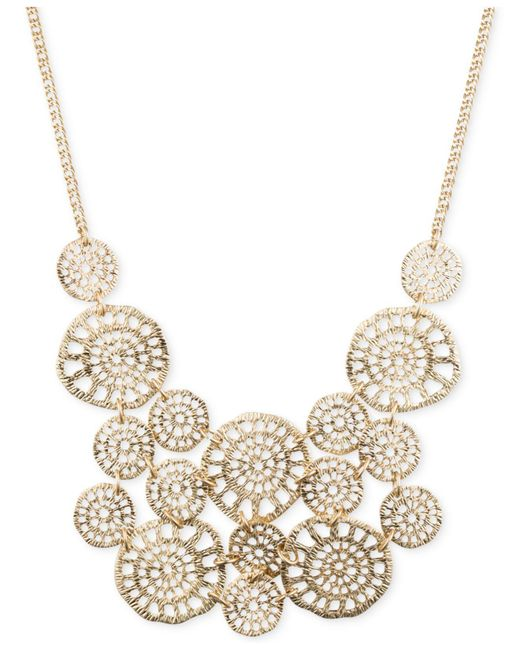 Lonna & Lilly - Metallic Gold-tone Textured Disc Drama Necklace - Lyst