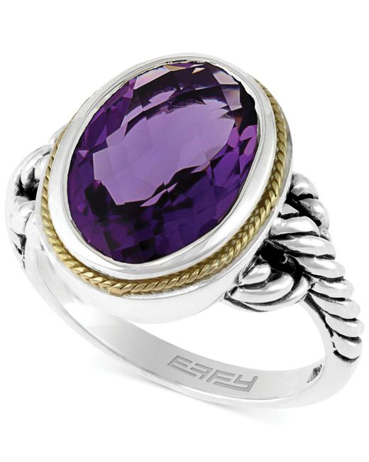 Effy Collection - Purple Amethyst Oval Ring In Sterling Silver And 18k Gold (5-1/4 Ct. T.w.) - Lyst
