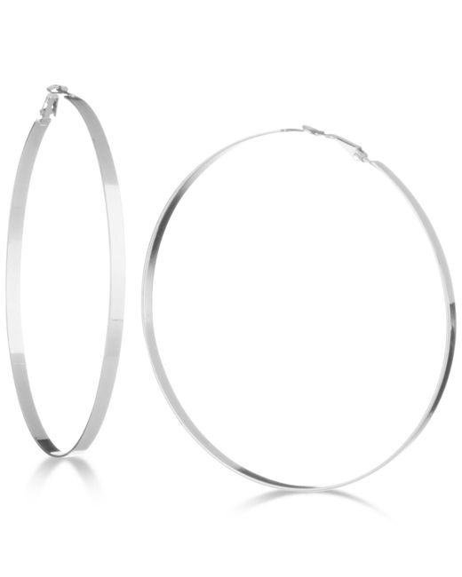 "Guess - Metallic 3 1/2"" Flat-edge Hoop Earrings - Lyst"