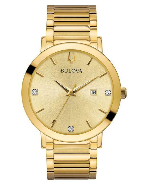 Bulova Metallic Men's Diamond Dress Diamond-accent Gold-tone Stainless Steel Bracelet Watch 42mm for men