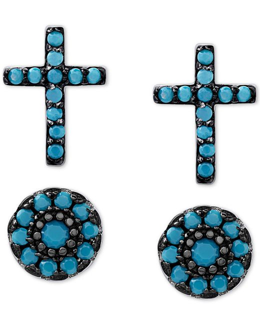 Macy's - Metallic 2-pc. Set Manufactured Turquoise Cross And Oval Stud Earrings In Sterling Silver - Lyst