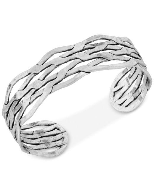 Lucky Brand - Metallic Silver-tone Twisted Cuff Bracelet - Lyst