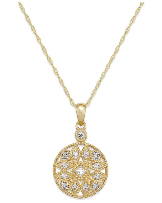 Macy's - Metallic White Sapphire (1/4 Ct. T.w.) Filigree Pendant Necklace In 14k Gold - Lyst