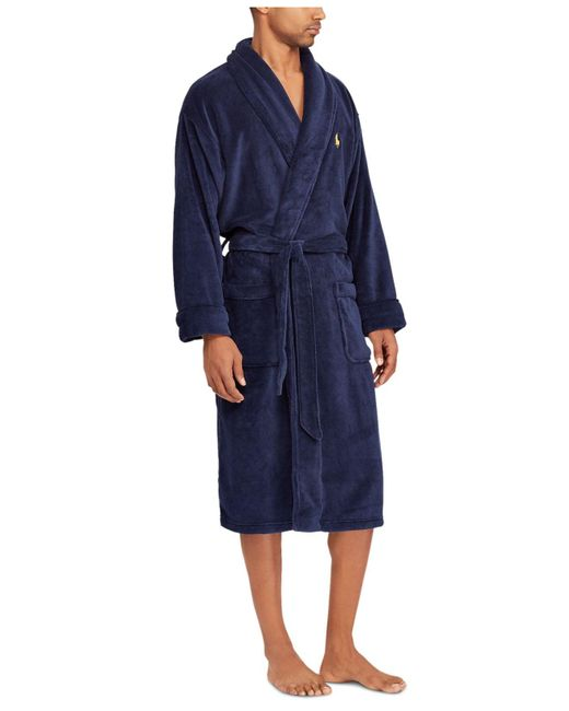 Polo Ralph Lauren Mens Kimono Cotton Velour Robe in Navy