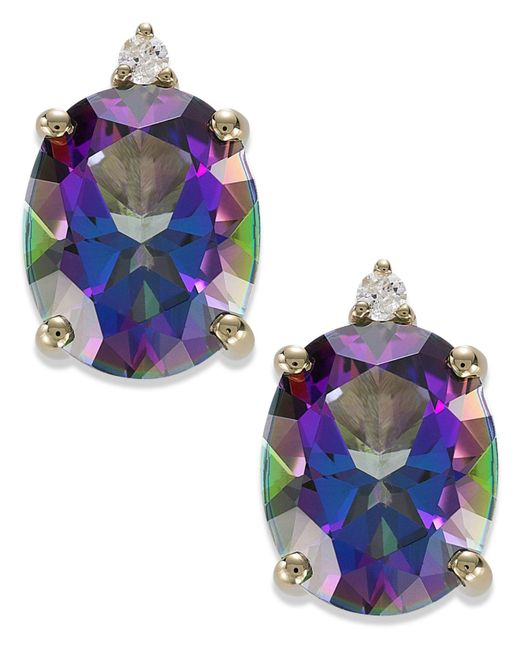 Macy's | Metallic 14k Gold Mystic Topaz (7 Ct. T.w.) And Diamond Accent Oval Earrings | Lyst