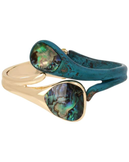 Robert Lee Morris - Metallic Gold-tone Abalone-look Bypass Bangle Bracelet - Lyst