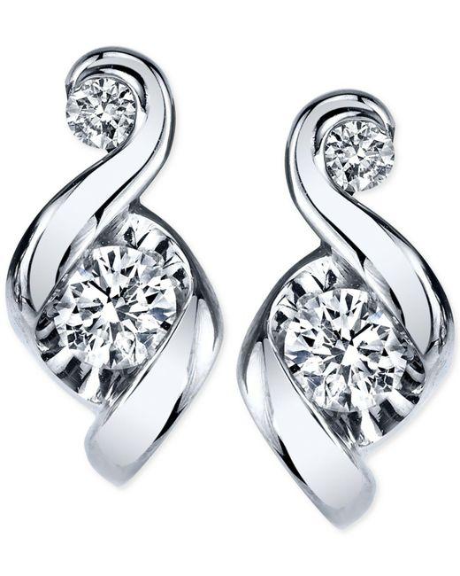 Macy's - Metallic Proud Mom Diamond Swirl Stud Earrings (1/4 Ct. T.w.) In 14k Gold Or White Gold - Lyst