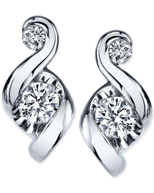 Proud Mom - Metallic Diamond Swirl Stud Earrings (1/4 Ct. T.w.) In 14k Gold Or White Gold - Lyst