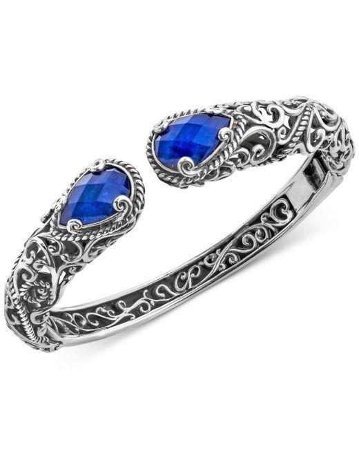 Carolyn Pollack Metallic Lapis Lazuli Doublet Filigree Bangle Bracelet (12 Ct. T.w.) In Sterling Silver