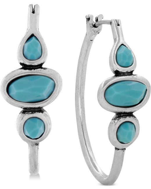 Lucky Brand - Metallic Silver-tone Turquoise Hoops Earrings - Lyst