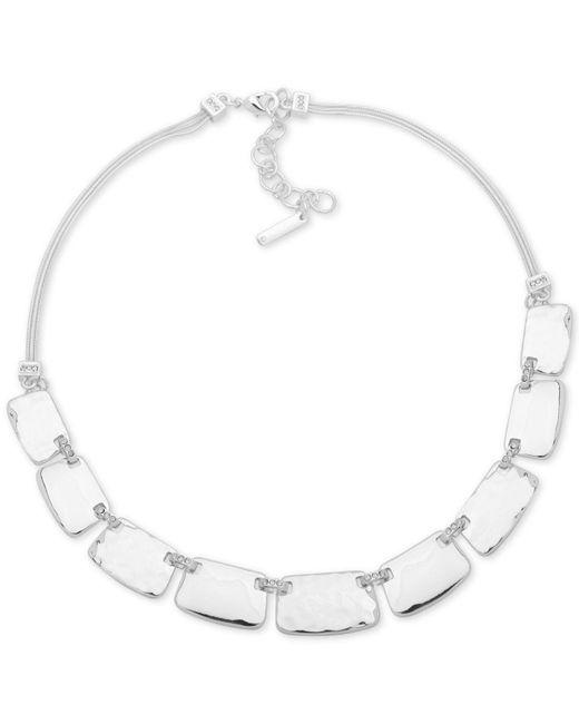 "Nine West - Metallic Textured Block Collar Necklace, 16"" + 2"" Extender - Lyst"